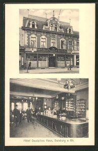 AK Duisburg a. Rh., Hotel Deutsches Haus, Innenansicht, Aussenansicht