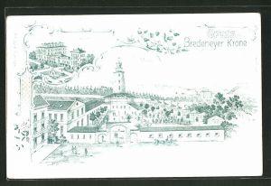 Lithographie Bredeney, Gasthaus Bredeneyer Krone, Villa Hügel