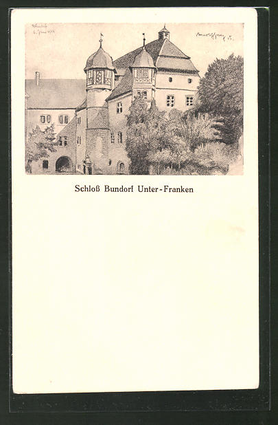 Künstler-AK Bundorf i. Unter-Franken, Schloss Bundorf, Teilansicht
