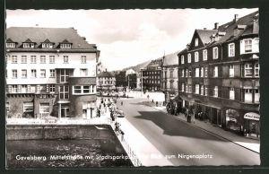 AK Gevelsberg, Mittelstrasse mit Stadtsparkasse und Blick zum Nirgenaplatz