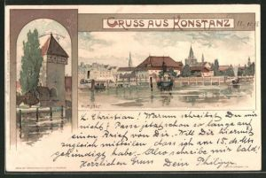 Künstler-Lithographie Karl Mutter: Konstanz, Hafenpartie und Turm