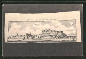 AK Siegburg, histor. Darstellung 1647, Merian Kupferstich