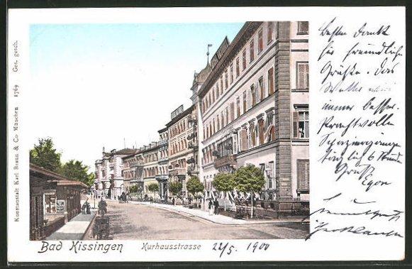 Goldfenster-AK Bad Kissingen, Häuser in der Kurhausstrasse mit leuchtenden Fenstern