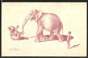 Künstler-AK Wien, Österreichischer Tierschutz-Verein, Mutter-Elefant schiebt Baby-Elefant im Kinderwagen