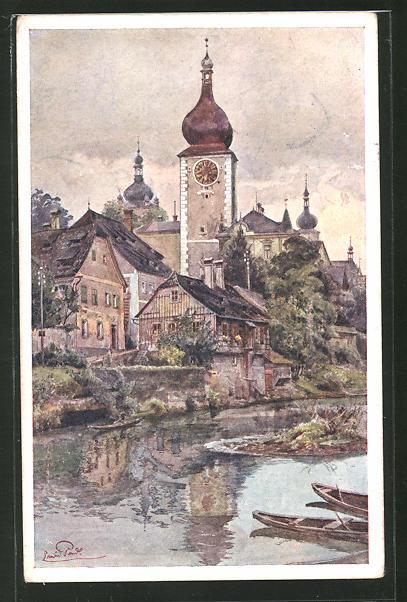 Künstler-AK Erwin Pendl: Waidhofen a. d. Ybbs, Torturm im Ortsbild