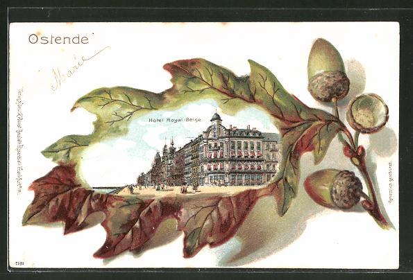 Passepartout-Lithographie Ostende, Hotel Toyal-Belge auf Eichenlaub