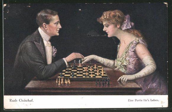 Künstler-AK Ruab Gnischaf: Eine Partie für's Leben, Liebespaar beim Schach