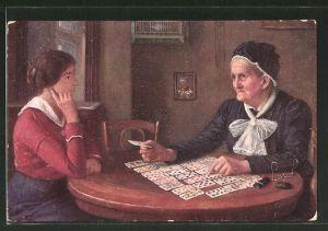 Künstler-AK Frage an das Schicksal, Kartenleserin, Hellseherin, Wahrsagerin