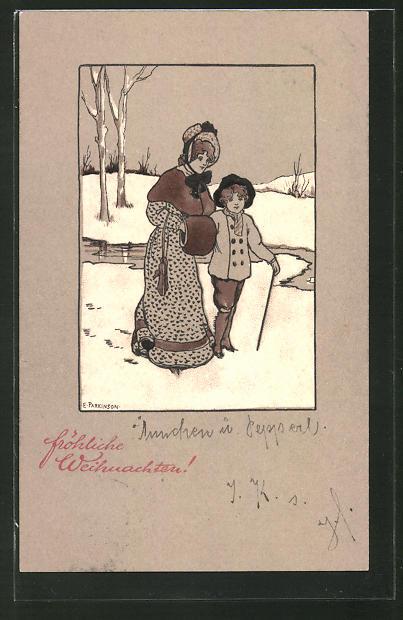 Künstler-Lithographie Ethel Parkinson: Fröhliche Weihnachten!, Dame und Knabe im Schnee