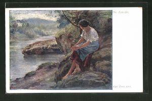 Künstler-AK Carl Zewy: Die Forelle, Maid am Wasser