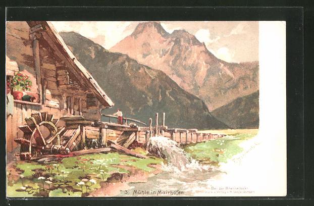 Künstler-Lithographie P. Schmohl: Mairhofem, Wassermühle