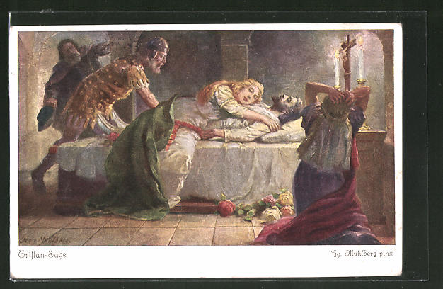 Künstler-AK Georg Mühlberg: Tristan-Sage, Isolde stirbt an der Bahre Tristans