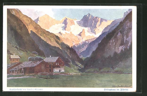 Künstler-AK Edo v. Handel-Mazzetti: Stilluphaus im Zillertal