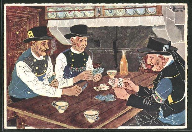 Künstler-AK Charles Homualk: Männer mit Tabakpfeifen und einem Kartenspiel