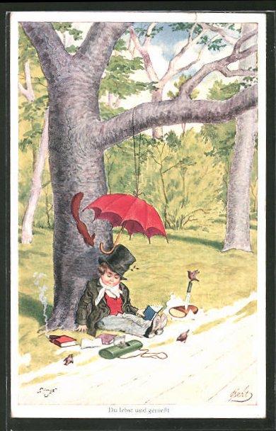 Künstler-AK Bert: Du lebst und geniesst, junger Mann schläft unter einem Baum