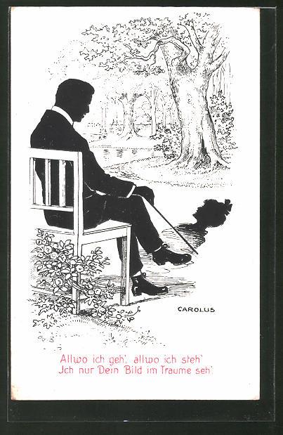 Künstler-AK sign.Carlous: Mann auf einer Bank mit Gehstock