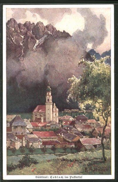 Künstler-AK Rudolf Alfred Höger: Toblach im Pustertal, Teilansicht mit Kirche