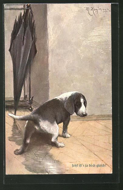 Künstler-AK Max Kuglmayr: Hund uriniert in eine vom nassen Schirm stammende Pfütze