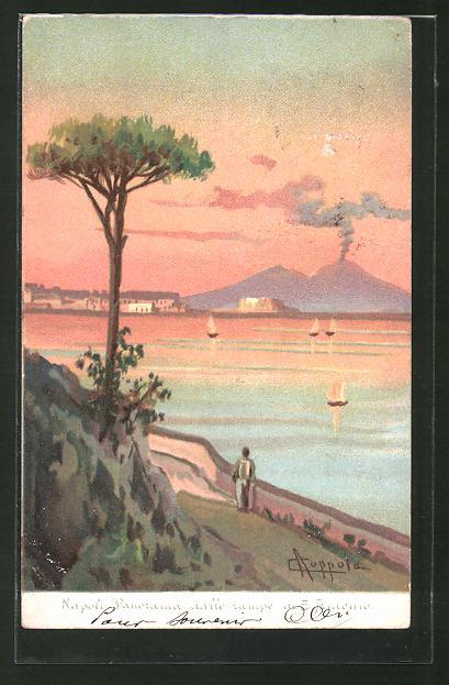 Künstler-AK sign. A. Coppola: Napoli, Panorama dalle rampe di S. Antonio, Blick zum Vulkan Vesuv