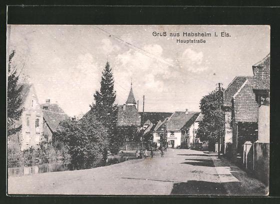 AK Habsheim i. Els., Strassenpartie in der Haupstrasse