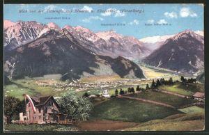 AK Bludenz, Blick vom Gasthaus auf der Tschengla auf die Stadt und ins Klostertal