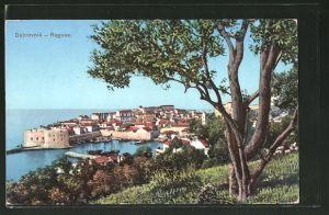 AK Dubrovnik / Raguse, Blick von einer Anhöhe auf den Hafen