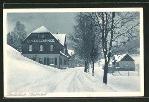 AK Breitenbach, Strassenpartie am Gasthof Dreckschänke im Winter