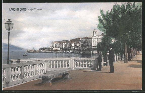 AK Bellagio, Promenade am Ufer des Comer Sees