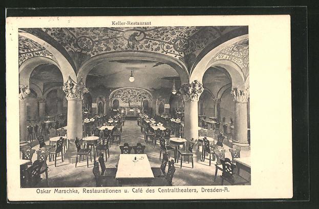 ak dresden restaurant und caf des centraltheaters waisenhausstrasse keller restaurant nr. Black Bedroom Furniture Sets. Home Design Ideas
