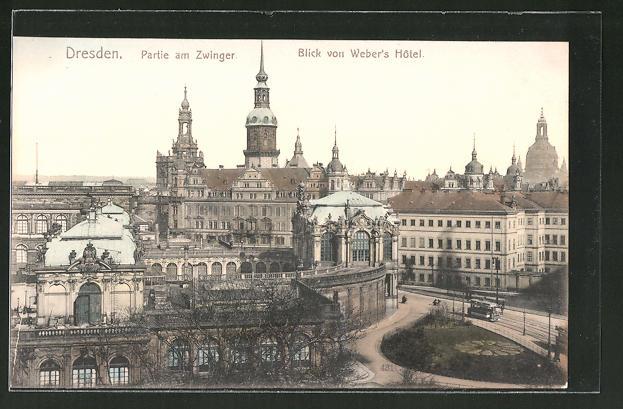 AK Dresden, Blick von Weber's Hotel zum Zwinger