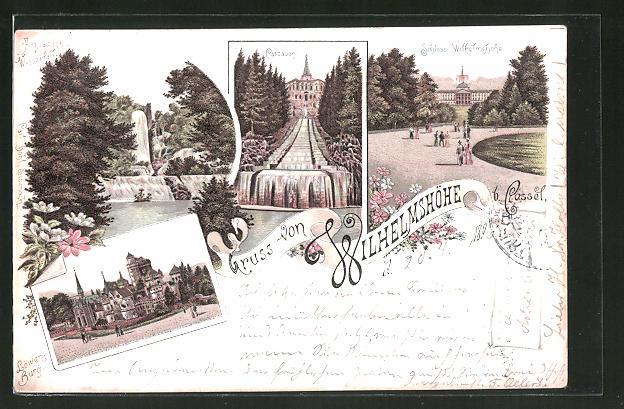 Lithographie Kassel-Wilhelmshöhe, Aquadukt Wasserfall, Löwenburg, Cascaden, Schloss Wilhelmshöhe