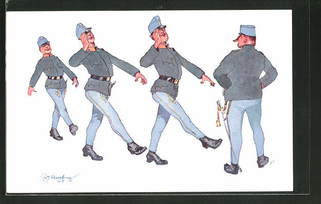 Künstler-AK Fritz Schönpflug: tänzelnde Soldaten, Scherz