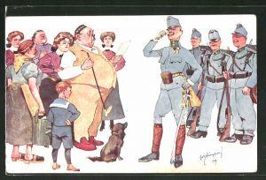 Künstler-AK Fritz Schönpflug: Zivilisten und Soldaten