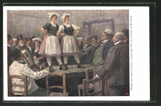 Künstler-AK Hans Larwin: Wiener Schankmaiden auf dem Tisch
