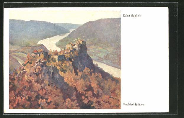 Künstler-AK Siegfried Stoitzner: Ruine Aggstein, Panorama