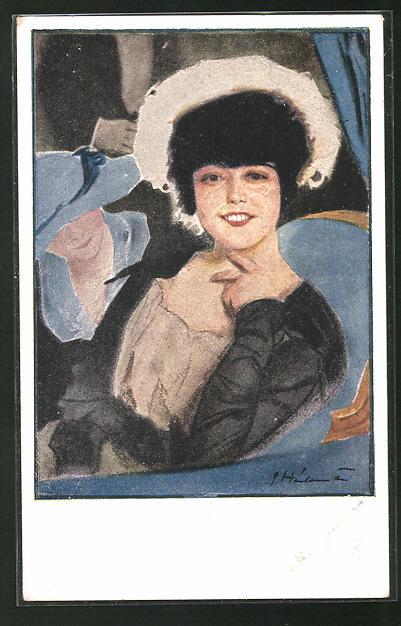 Künstler-AK Ernst Heilemann: Portrait einer eleganten Dame