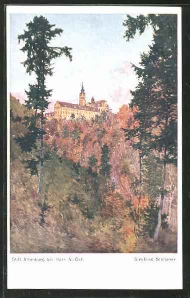 Künstler-AK Siegfried Stoitzner: Horn / N.-Öst., Stift Altenburg im Herbst