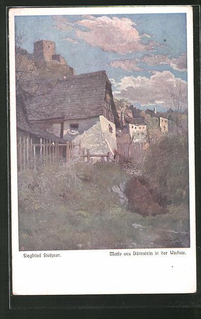 Künstler-AK Siegfried Stoitzner: Dürnstein i. d. Wachau, Motiv aus der Ortschaft