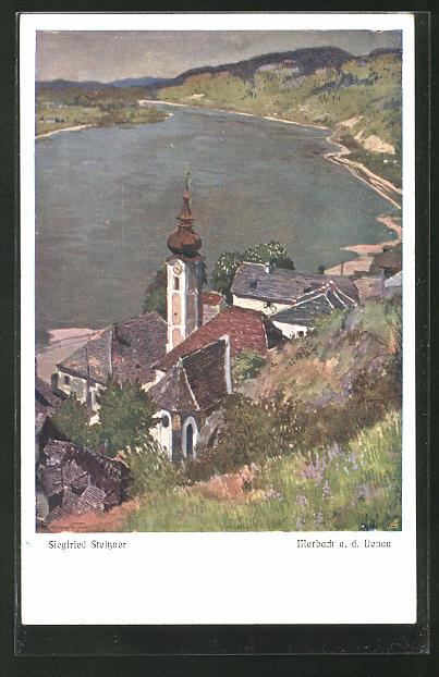 Künstler-AK Siegfried Stoitzner: Marbach a. d. Donau, Panorama mit Ort und Fluss
