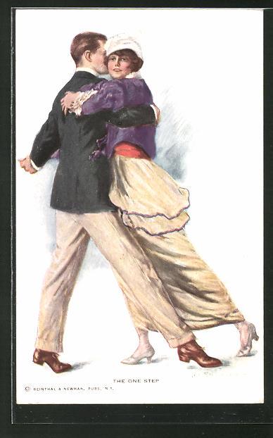 Künstler-AK Lester Ralph: The One Step. Paar engumschlungen beim Tanz