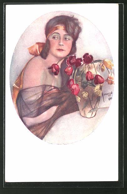 Künstler-AK Manasse: Dame mit schulterfreiem Kleid und Tulpen in der Vase