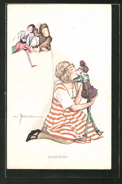 Künstler-AK Manasse: Vielbeneidet. Mädchen mit seinem Lieblingsspielzeug, dem Clown