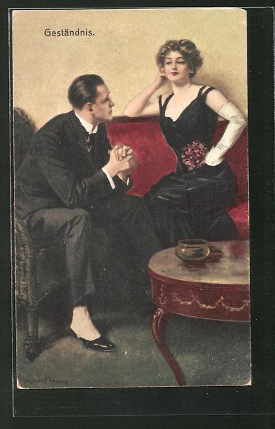 Künstler-AK Clarence F. Underwood: Geständnis. Mann erklärt der Dame seines Herzens seine Liebe