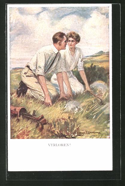Künstler-AK Clarence F. Underwood: Verloren! Junges Paar auf der Suche nach dem Golfball
