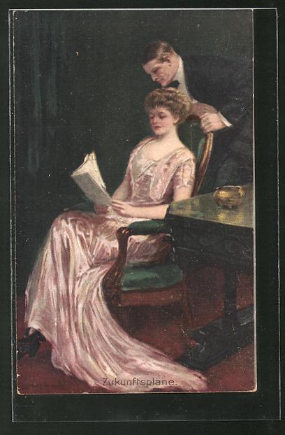 Künstler-AK Clarence F. Underwood: Zukunftspläne. Junges Paar beim Studium einer Zeitschrift