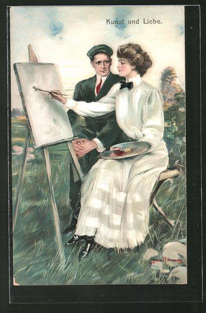Künstler-AK Clarence F. Underwood: Kunst und Liebe. Junges Paar an der Staffelei