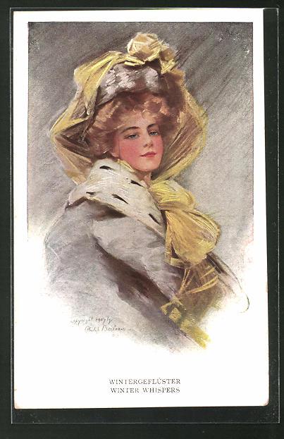 Künstler-AK Philip Boileau: Wintergeflüster. Dame mit elegantem Hut und Pelzmantel