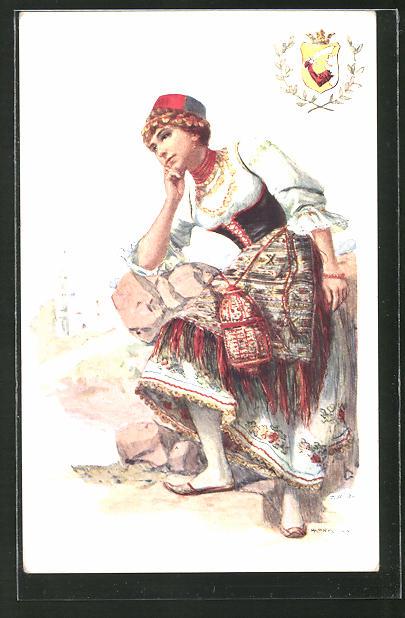 Künstler-AK Adolf Karpellus: Dame in Tracht verweilt in nachdenklicher Pose