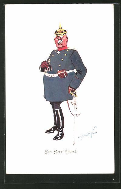 Künstler-AK Fritz Schönpflug: Der Herr Oberst, Karikatur eines deutschen Offiziers