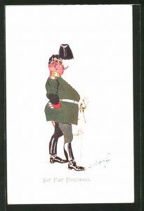 Künstler-AK Fritz Schönpflug: Der Herr Hauptmann, Karikatur eines deutschen Offiziers
